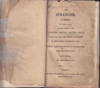 The Stranger: a Drama in Five Acts; as Performed at the Theatre Royal, Drury Lane. August von...