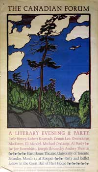 The Canadian Forum. A literary Evening & Party. Poster. Eli Mandel JM and Michael Ondaatje,...