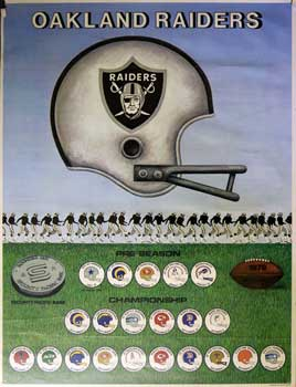 Oakland Raiders. 1979 Schedule. Poster. Lowell Herrero