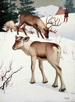Reindeer and a Snowy landscape with a Man on skis. Edward Osmond
