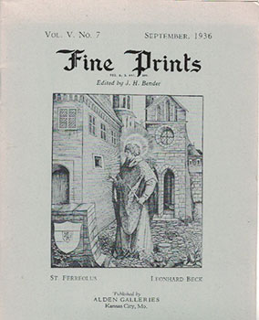 Fine Prints. A run of 30 catalogues from the Depression years. J. H. Bender
