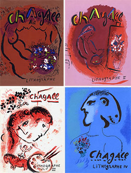 Chagall Lithographe. Vols. I, II, III, IV. First editions. Fernand Mourlot, Julien Cain, Marc...