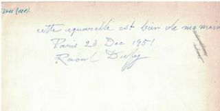 Certificate of authenticity for a watercolor by Raoul Dufy