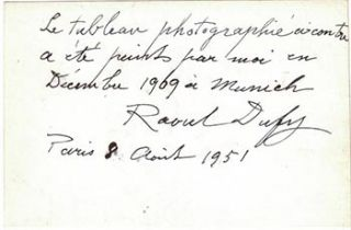 Certificate of authenticity for a 1909 painting by Raoul Dufy