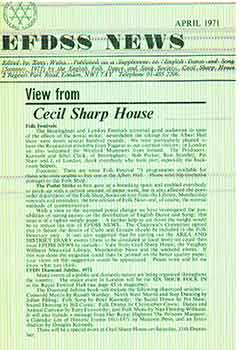 EFDSS News April 1971 : View from Cecil Sharp House. Published as a supplement to 'English Dance...