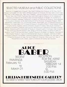 Alice Baber : Recent Paintings, February 14 to March 21. (Invitation card for reception). Alice...