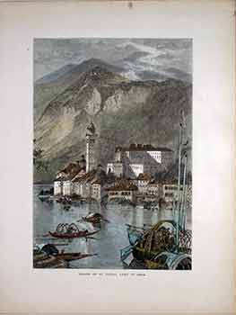 Island of St. Giulio, Lake of Orta. (Color engraving). 19th Century European Artist