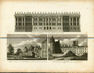 Facade principale du Louvre projettee par Bernin. (Three views of the Louvre). (B&W engraving)....