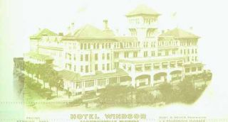 Printed envelope from the Hotel Windsor with sepia photo printed on verso. Vintage