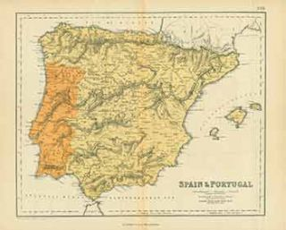 Spain & Portugal (Map). Heliographic Engraving Co