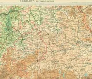 Germany -- Southern Section. The Times Atlas Plate 39 (Map). John Bartholomew, Son