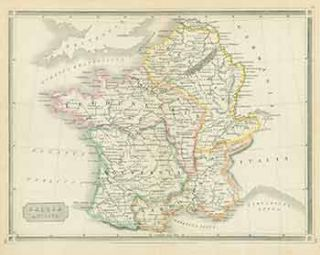 Gallia Antiqua (Map of France, Spain and Portugal). 18th Century European Engraver