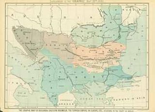 The Graphic Map of Bulgaria, Eastern Roumelia, The Turkish Empire in Europe according to the...