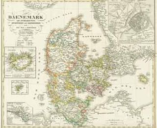Daenemark (19th Century map of Denmark). A. Stieler, engraver
