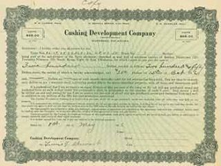 Certificate for purchase of oil well property in Oklahoma for $500. Cushing Development Company