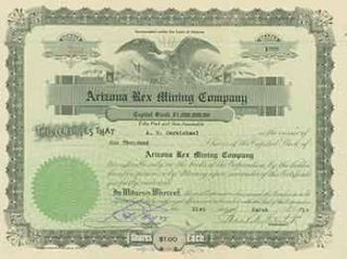 Full Paid and Non-Assessable 1000 Shares of Capital Stock. Arizona Rex Mining Company