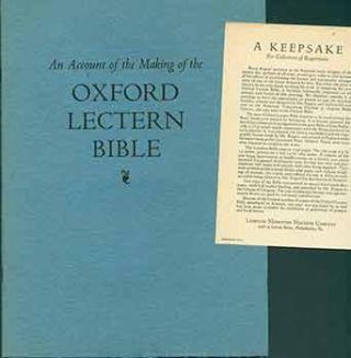 An Account of the Making of the Oxford Lectern Bible. Bruce Rogers