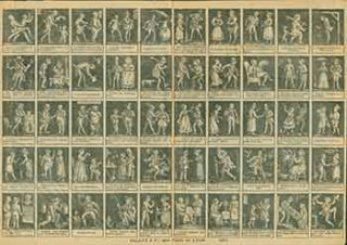 French Broadsheet with 50 miniature etchings and captions. 19th Century French Artist