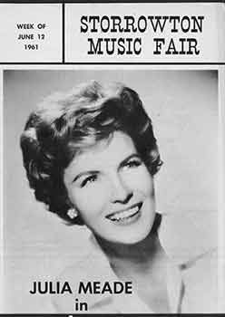 Storrowton Music Fair Official Program: Week of June 12, 1961. Limited edition. Storrowton Music...