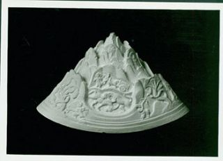 Photograph of Ancient Stone Sculpture of Figures and Landscape. Freer Gallery of Art, Chinese...