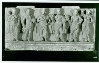 Photograph of Ancient Wall Sculpture, Standing Figures. Freer Gallery of Art, Chinese Artist,...