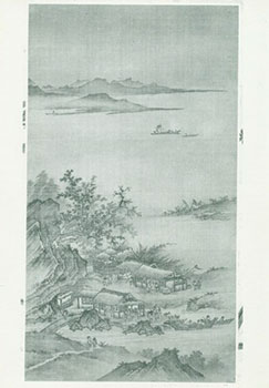 Photograph of Ancient Chinese Painting of Settlements Near Trees, Mountains in Distance. Freer...