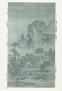 Photograph of Ancient Chinese Painting of Temples Below Mountains in Forest. Freer Gallery of...
