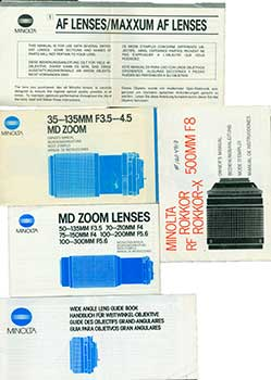 Minolta 35-135MM F3.5-4.5 MD Zoom, RF Rokkor-X 500MM F8, Wide Angle, MD Zoom, and two (2) AF...
