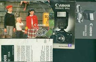 Canon instruction manuals for the Canon T50, Canon Speedlite 188A, Canon Speedlite 199A, Canon...