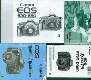 Canon instruction manuals for the Canon EOS Rebel T5 Eos 1200D, Canon EOS Rebel G/Rebel GQD,...