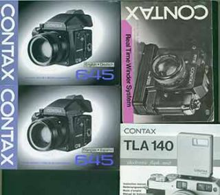 Contax instruction manuals for the Contax 645 (French & Spanish), Contax 645 (English & Dutch),...