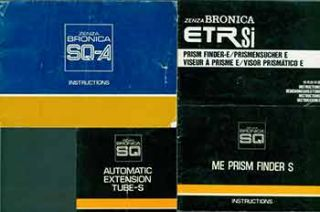 Zenza Bronica instruction manuals for the ETRsi Prism Finder-E, ME Prism Finder S, Automatic...