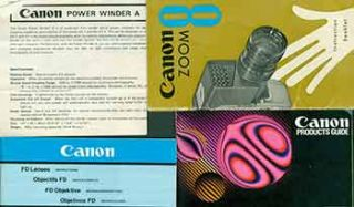 Canon instruction manuals for FD lenses, Power Winder A, Canon Zoom 8, and Canon Products Guide....