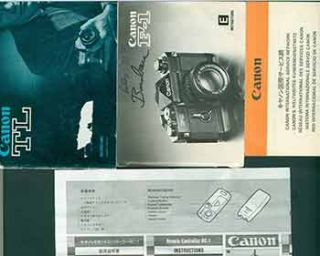 Canon instruction manual for Canon F-1, Canon TL, Canon Remote Controller RC-1, and Canon...