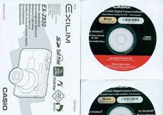 Casio instruction manual for EX-Z850, CD-ROM software for M 844, and CD-ROM software for M 831....