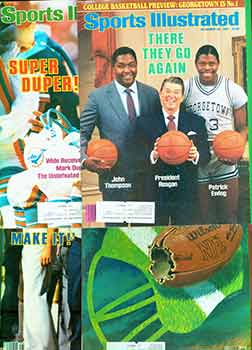 4 Sports Illustrated issues from 1984. Covers include John Thompson & Patrick Ewing, Gerry Faust,...