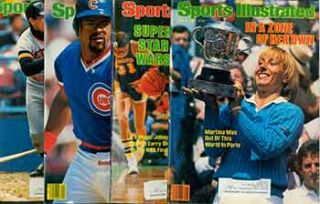 4 Sports Illustrated issues from 1984. Covers include Martina Navratilova, Bill Durham, Magic...