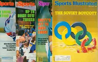 4 Sports Illustrated issues from 1984. Covers include George Brett, Mike Bossy, Magic Johnson,...
