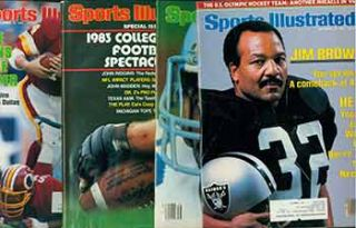 4 Sports Illustrated issues from 1983. Covers include Tony Dorsett, Jim Brown, John Riggins, et...