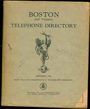 Boston and Vicinity Telephone Directory, New England Telephone and Telegraph Company, 1946. New...