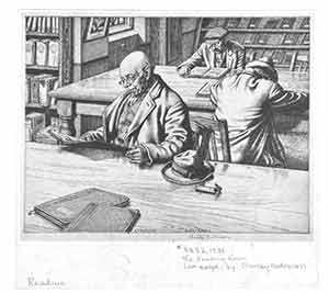 The Reading Room (line engraving). Stanley Anderson, engrav