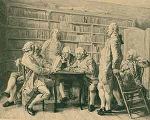 La lecture chez Diderot,] black and white etching by Mongin after Meissonier. Ernest Meissonier,...