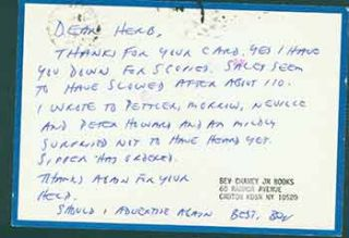 Autographed handwritten postcard addressed to Herb Yellin of the Lord John Press. Bev Chaney,...