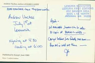 Postcard addressed to Herb Yellin of the Lord John Press, [from Andrew Vachss], author of Hard...