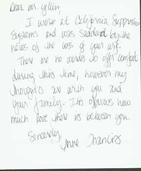 Sympathy card addressed to Herb Yellin of the Lord John Press, from Anne Francis. Anne Francis,...