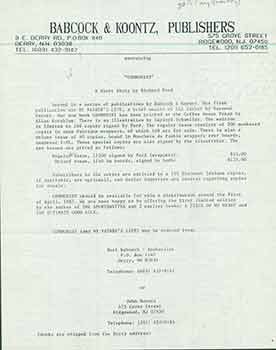 "Announcement for ""Communist"", A Short Story by Richard Ford. Sent to Herb Yellin of the Lord John..."