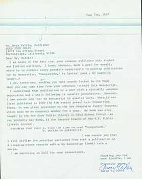 Signed letter from aspiring writer Aaron E. Cohen sent to Herb Yellin of the Lord John Press....