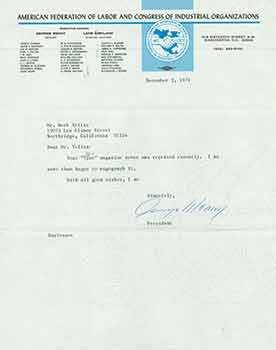 Signed letter from George Meany of the American Federation of Labor and Congress of Industrial...