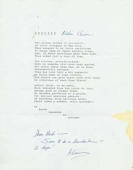 Avocado. A signed poem from poet Allan Covici to Herb Yellin of the Lord John Press. Allan Covici
