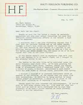 Signed letter from William Ferguson to Herb Yellin of the Lord John Press. Halty Ferguson...